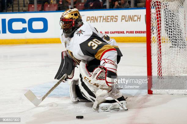 Goaltender Malcolm Subban of the Vegas Golden Knights defends the net against the Florida Panthers at the BBT Center on January 19 2018 in Sunrise...