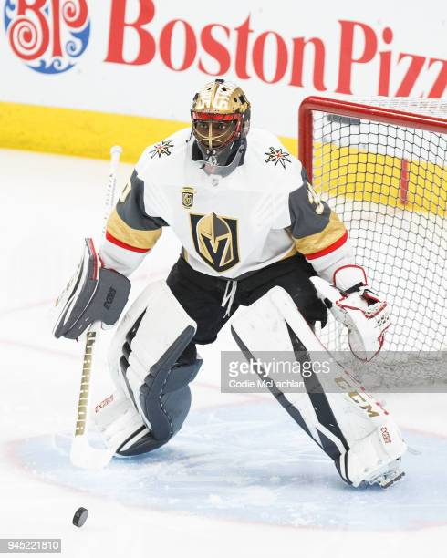 Goaltender Malcolm Subban of the Vegas Golden Knights looks on during warmup against the Edmonton Oilers at Rogers Place on April 5 2018 in Edmonton...