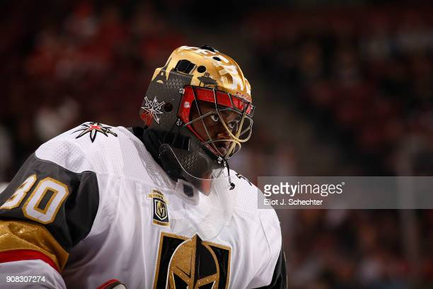 Goaltender Malcolm Subban of the Vegas Golden Knights skates back to the net after a break in the action against the Florida Panthers at the BBT...