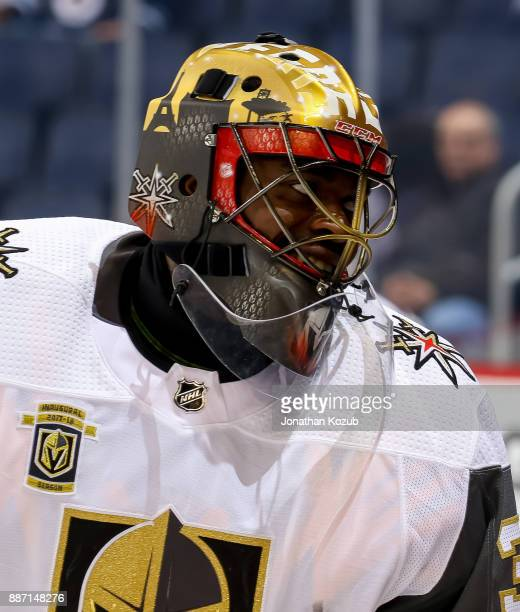 Goaltender Malcolm Subban of the Vegas Golden Knights smiles during the pregame warm up prior to NHL action against the Winnipeg Jets at the Bell MTS...