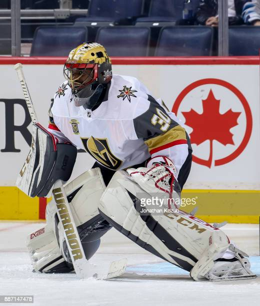 Goaltender Malcolm Subban of the Vegas Golden Knights takes part in the pregame warm up prior to NHL action against the Winnipeg Jets at the Bell MTS...
