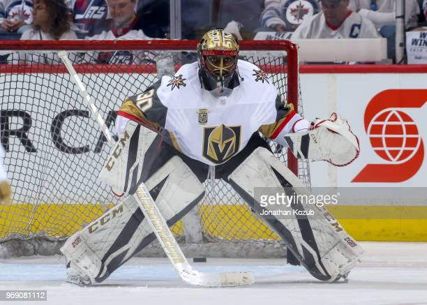 Goaltender Malcolm Subban of the Vegas Golden Knights takes part in the pregame warm up prior to NHL action against the Winnipeg Jets in Game One of...