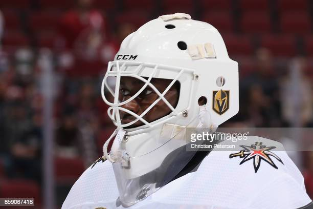 Goaltender Malcolm Subban of the Vegas Golden Knights warms up before the NHL game against the Arizona Coyotes at Gila River Arena on October 7 2017...