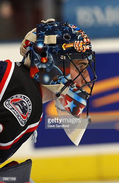 Goaltender Marc Denis of the Columbus Blue Jackets protects the net during the game against the Toronto Maple Leafs at Air Canada Centre on February...