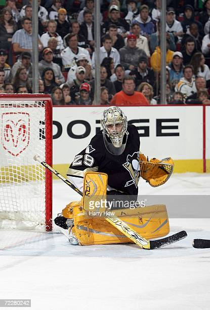Goaltender MarcAndre Fleury of the Pittsburgh Penguins blocks the net during the game against the Columbus Blue Jackets at Mellon Arena on October 21...