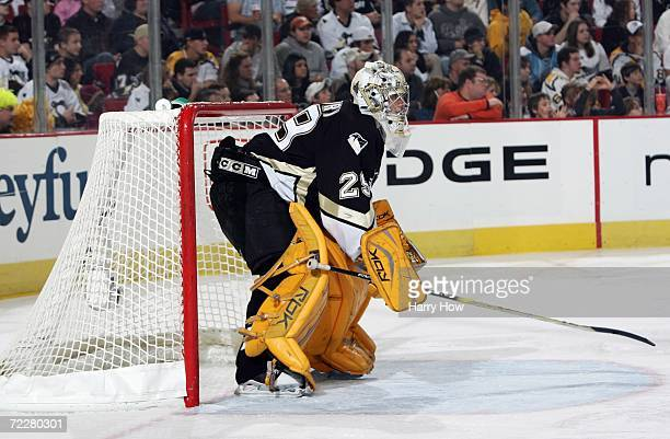 Goaltender MarcAndre Fleury of the Pittsburgh Penguins guards the net during the game against the Columbus Blue Jackets at Mellon Arena on October 21...