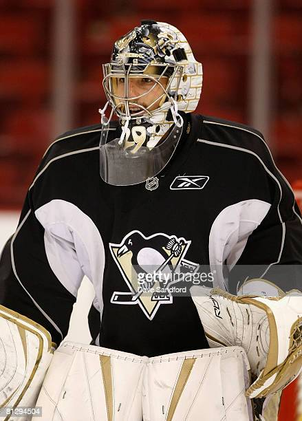 Goaltender MarcAndre Fleury of the Pittsburgh Penguins in action during a practice for the 2008 NHL Stanley Cup Finals at Mellon Arena on May 30 2008...