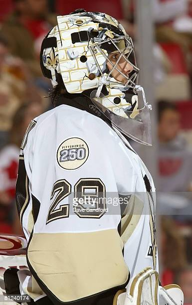 Goaltender MarcAndre Fleury of the Pittsburgh Penguins looks on during game two of the 2008 NHL Stanley Cup Finals against the Detroit Red Wings at...