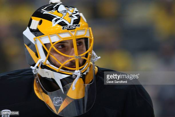 Goaltender MarcAndre Fleury of the Pittsburgh Penguins looks on during warmup prior to Game Two of the 2016 NHL Stanley Cup Final against the San...