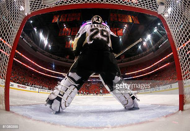 Goaltender Marc-Andre Fleury of the Pittsburgh Penguins stands in goal during game three of the Eastern Conference Finals of the 2008 NHL Stanley Cup...