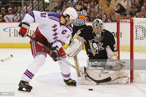 Goaltender MarcAndre Fleury of the Pittsburgh Penguins stops a shot by Jaromir Jagr of the New York Rangers during Game Two of the Eastern Conference...