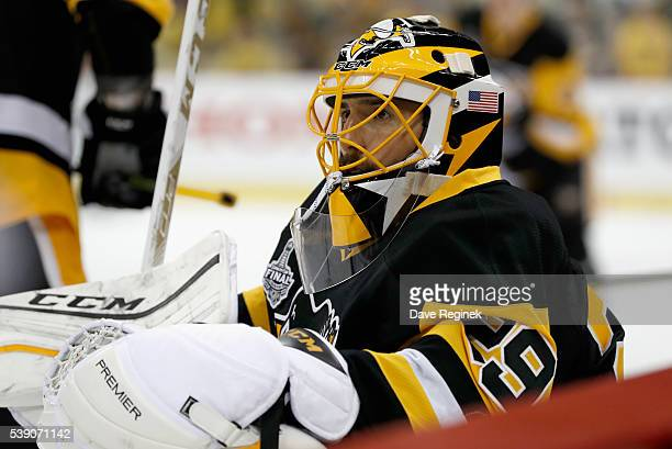 Goaltender MarcAndre Fleury of the Pittsburgh Penguins stretches during warm ups before Game 5 of the 2016 NHL Stanley Cup Final against the San Jose...