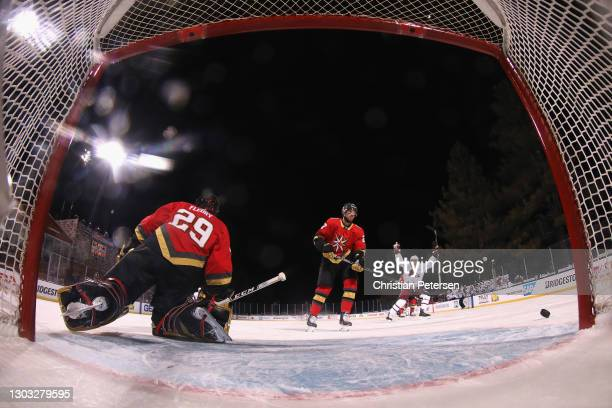 Goaltender Marc-Andre Fleury of the Vegas Golden Knights allows a second period goal to Nathan MacKinnon of the Colorado Avalanche during the 'NHL...