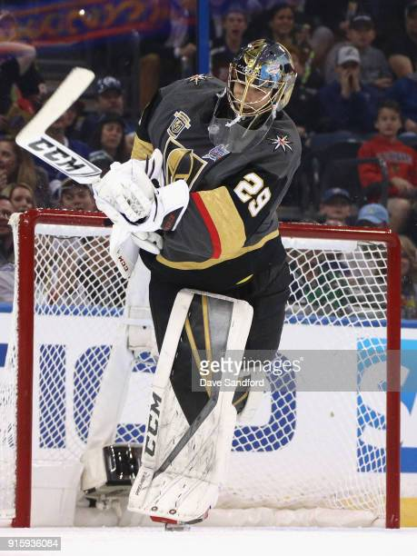 Goaltender MarcAndre Fleury of the Vegas Golden Knights competes in the GEICO NHL Save Streak during 2018 GEICO NHL AllStar Skills Competition at...