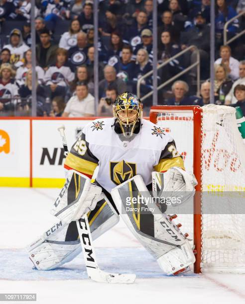 Goaltender MarcAndre Fleury of the Vegas Golden Knights guards the net during third period action against the Winnipeg Jets at the Bell MTS Place on...