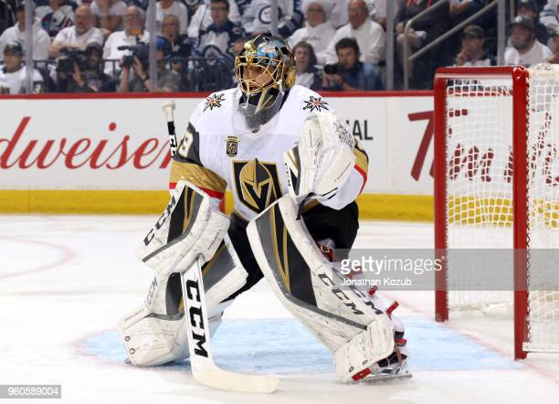 Goaltender MarcAndre Fleury of the Vegas Golden Knights guards the net during first period action against the Winnipeg Jets in Game Five of the...