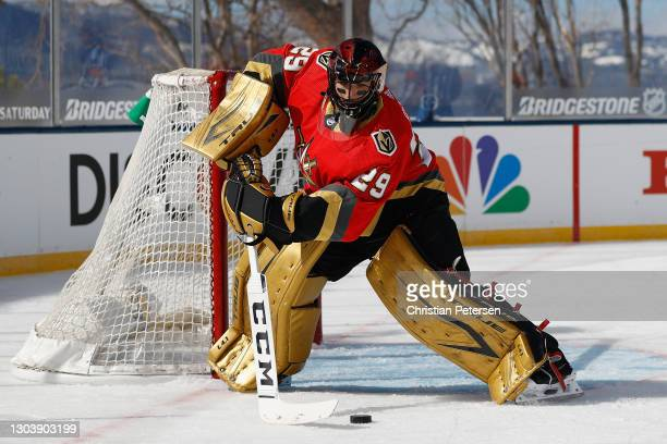 Goaltender Marc-Andre Fleury of the Vegas Golden Knights handles the puck during the 'NHL Outdoors At Lake Tahoe' against the Colorado Avalanche at...