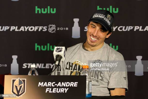 Goaltender MarcAndre Fleury of the Vegas Golden Knights is all smiles as he takes part in the postgame press conference following a 21 victory over...