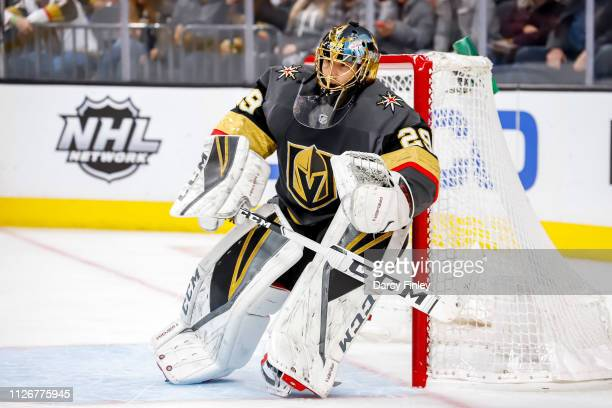 Goaltender MarcAndre Fleury of the Vegas Golden Knights keeps an eye on the play during first period action against the Winnipeg Jets at TMobile...