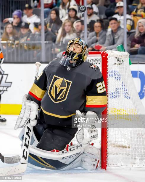 Goaltender MarcAndre Fleury of the Vegas Golden Knights keeps an eye on the puck during third period action against the Winnipeg Jets at TMobile...