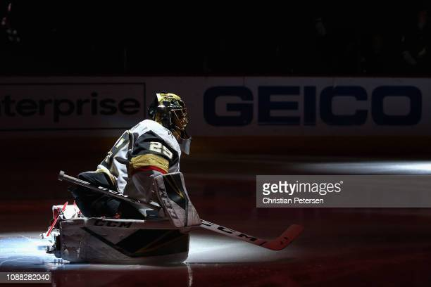 Goaltender MarcAndre Fleury of the Vegas Golden Knights warmsup on the ice before the start of the NHL game against the Arizona Coyotes at Gila River...