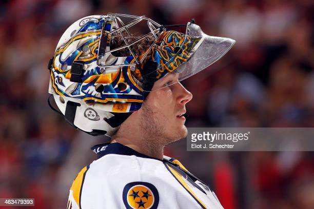Goaltender Marek Mazanec of the Nashville Predators cools off during a break in the action against the Florida Panthers at the BBT Center on January...