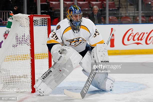 Goaltender Marek Mazanec of the Nashville Predators defends the net against the Florida Panthers during a preseason game at the BBT Center on...