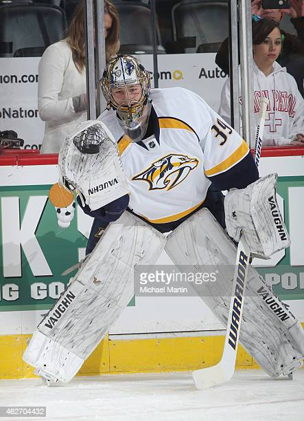 Goaltender Marek Mazanec of the Nashville Predators warms up prior to the game against the Colorado Avalanche at the Pepsi Center on January 30 2015...