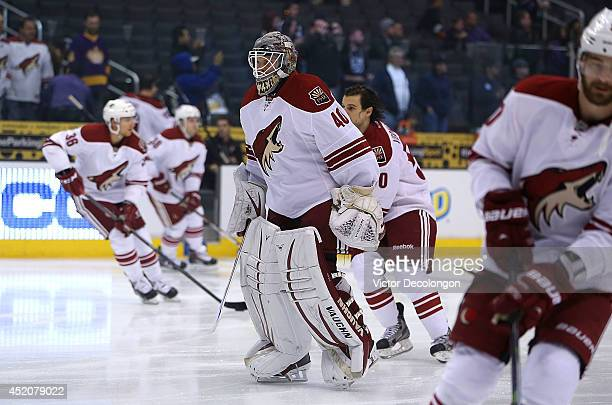 Goaltender Mark Visentin of the Phoenix Coyotes skates during warmup prior to their NHL game against the Los Angeles Kings at Staples Center on April...