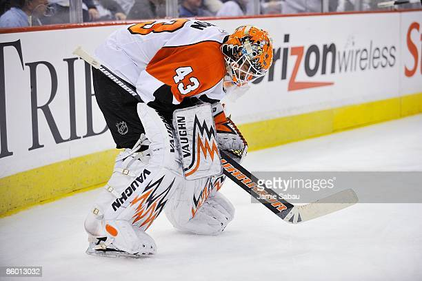 Goaltender Martin Biron of the Philadelphia Flyers takes a break against the Pittsburgh Penguins during game one of the 2009 Eastern Conference...