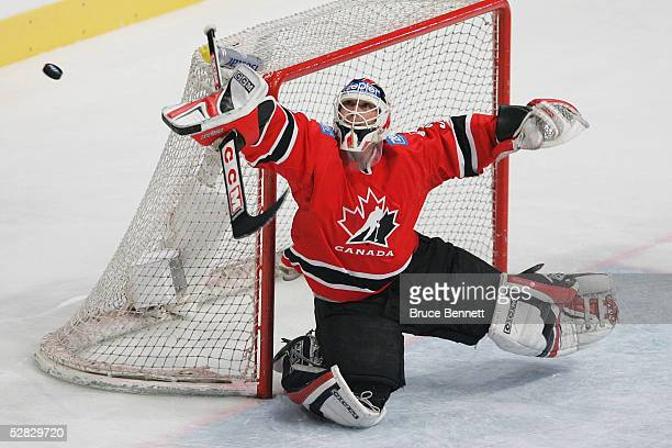Goaltender Martin Brodeur of Canada makes a pad save against the Czech Republic in the IIHF World Men's Championships gold medal game at Wiener...