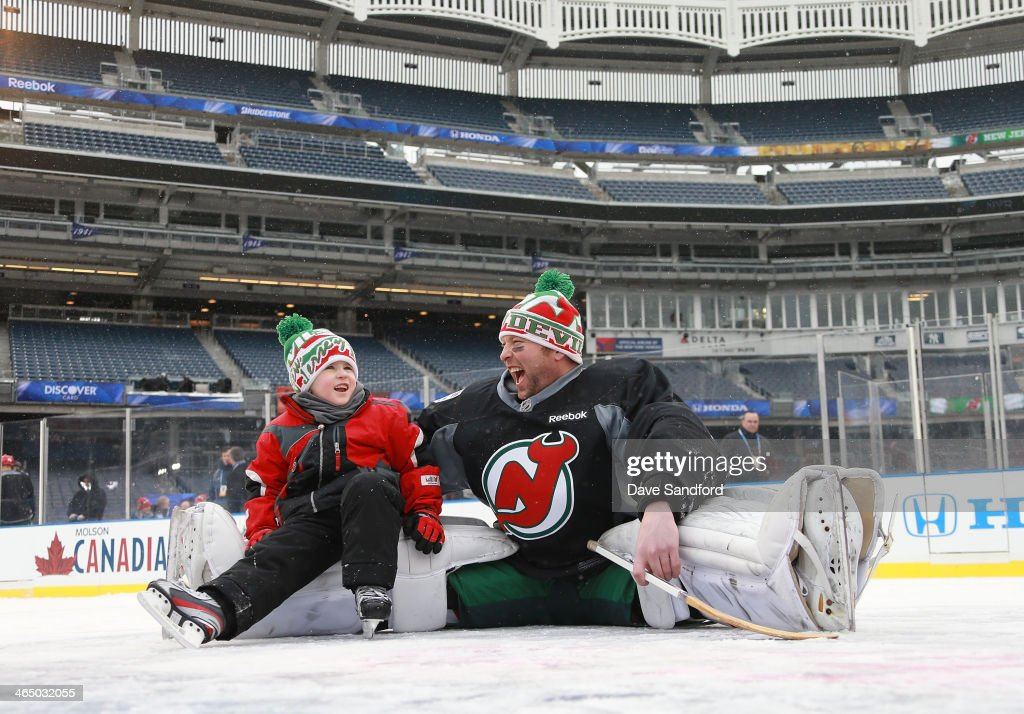 Goaltender Martin Brodeur Of The New Jersey Devils And Son Maxime