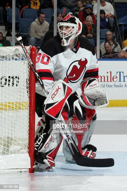 Goaltender Martin Brodeur of the New Jersey Devils eyes the play against the New York Islanders during the first period on December 29 2007 at the...