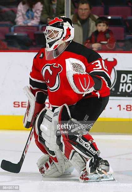 Goaltender Martin Brodeur of the New Jersey Devils follows the puck during the game against the Edmonton Oilers on December 13 2005 at the...