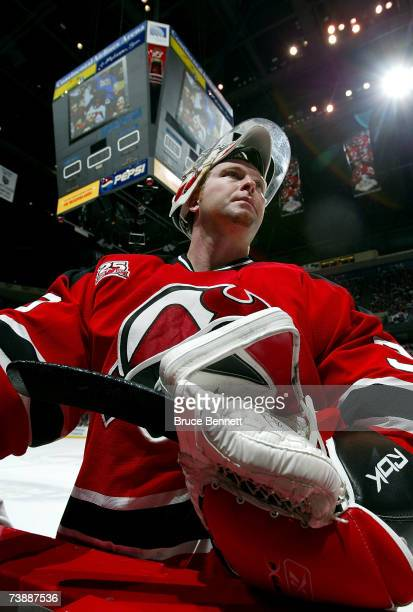 Goaltender Martin Brodeur of the New Jersey Devils leaves the ice after his team's loss to the Tampa Bay Lightning in Game 2 of the 2007 Eastern...