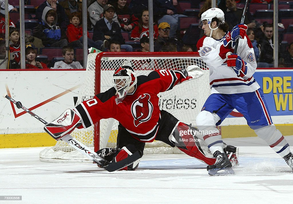 Goaltender Martin Brodeur Of The New Jersey Devils Makes A Stick