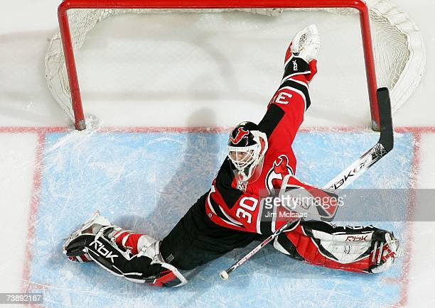 Goaltender Martin Brodeur of the New Jersey Devils tends the net during the first period of Game 2 of the 2007 Eastern Conference Quarterfinals...