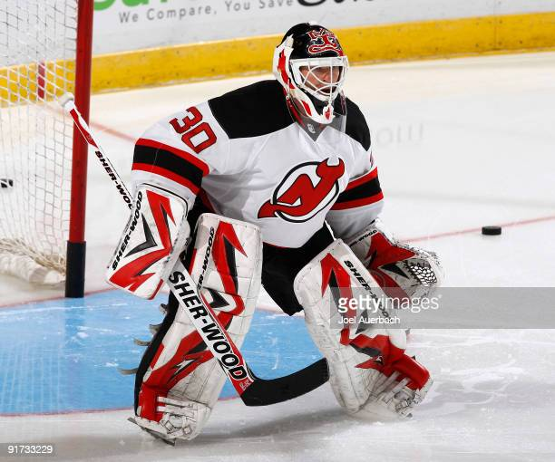 Goaltender Martin Brodeur of the New Jersey Devils warms up prior to the game against the Florida Panthers on October 10, 2009 at the BankAtlantic...
