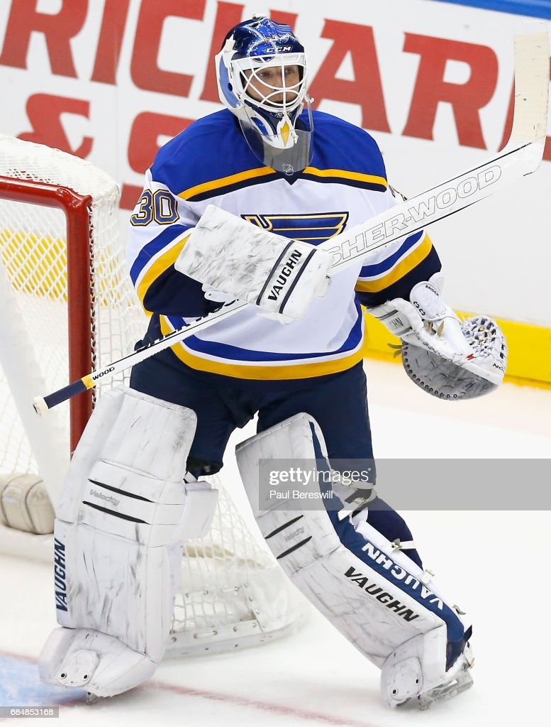 Goaltender Martin Brodeur Of The St Louis Blues Plays In The Game