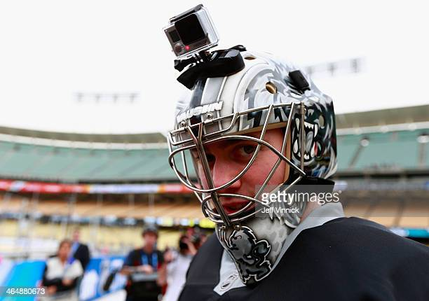 Goaltender Martin Jones of the Los Angeles Kings attends practice wearing a video camera on his mask prior to the 2014 Coors Light NHL Stadium Series...