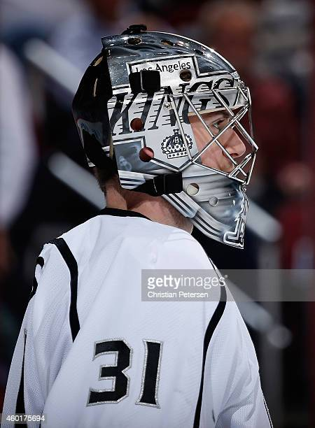 Goaltender Martin Jones of the Los Angeles Kings in action during the NHL game against the Arizona Coyotes at Gila River Arena on December 4 2014 in...