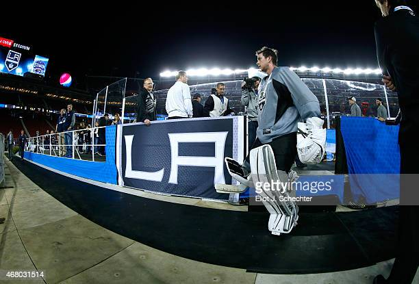 Goaltender Martin Jones of the Los Angeles Kings leaves the rink after practice day as part of the 2015 Coors Light Stadium Series game between the...