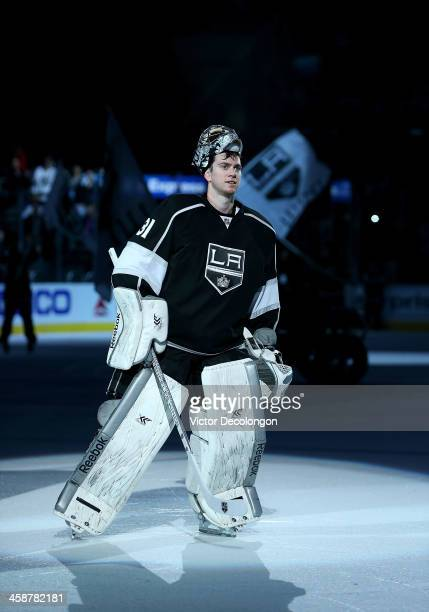 Goaltender Martin Jones of the Los Angeles Kings skates on the ice after the NHL game against the San Jose Sharks at Staples Center on December 19...