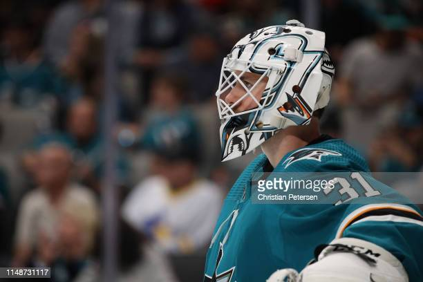 Goaltender Martin Jones of the San Jose Sharks against the St Louis Blues in Game One NHL Western Conference Final during the 2019 NHL Stanley Cup...