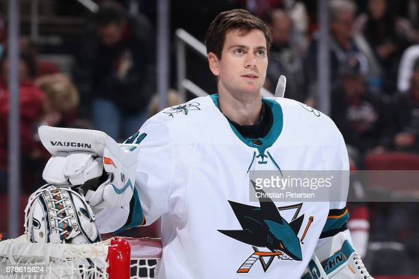 Goaltender Martin Jones of the San Jose Sharks before the start of the NHL game against the Arizona Coyotes at Gila River Arena on November 22 2017...