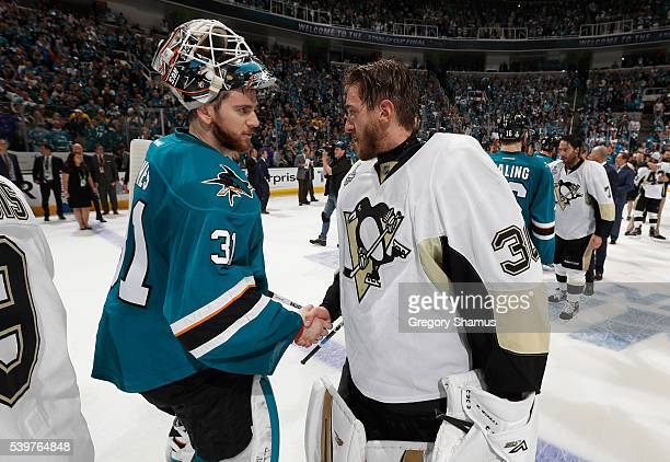 Goaltender Martin Jones of the San Jose Sharks congratulates goaltender Matt Murray of the Pittsburgh Penguins after the Penguins won Game 6 of the...