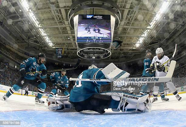 Goaltender Martin Jones of the San Jose Sharks defends the net against the Pittsburgh Penguins during the second period of the Game 6 of the 2016 NHL...