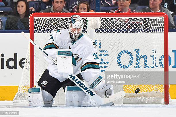 Goaltender Martin Jones of the San Jose Sharks defends the net against the Columbus Blue Jackets on October 15 2016 at Nationwide Arena in Columbus...