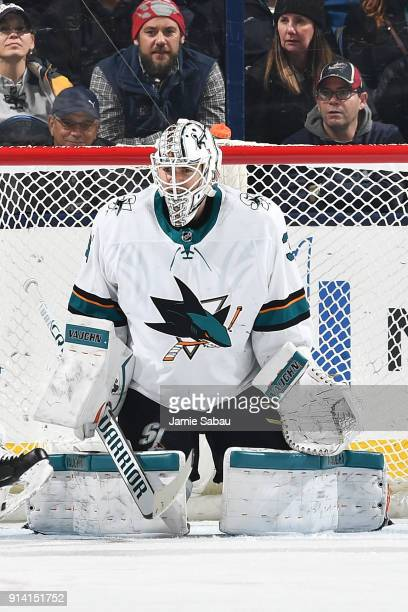 Goaltender Martin Jones of the San Jose Sharks defends the net against the Columbus Blue Jackets on February 2 2018 at Nationwide Arena in Columbus...