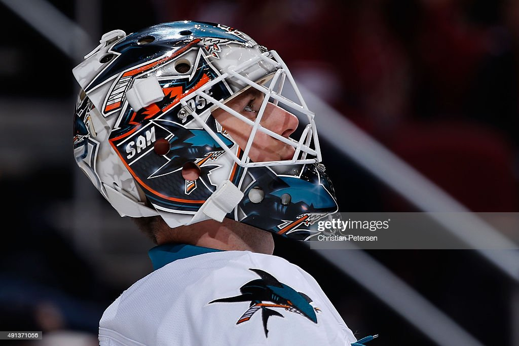 Goaltender Martin Jones #31 of the San Jose Sharks during the NHL preseason game against the Arizona Coyotes at Gila River Arena on October 2, 2015 in Glendale, Arizona.